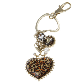 Betsey Johnson Leopard Heart Key Chain